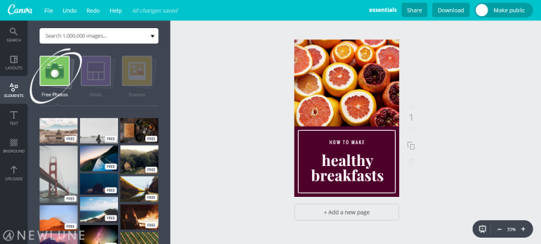 how to create custom images for your blog posts using canva-newlune-free photos