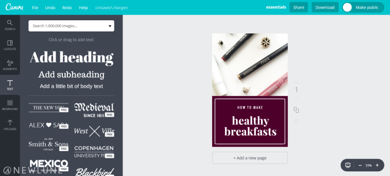 how to create custom images for your blog posts using canva-newlune-text