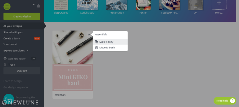 how to create custom images for your blog posts using canva-newlune-use the same template
