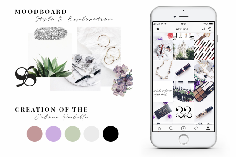 how to create an instagram theme + free instagram templates colour palette moodboard new lune