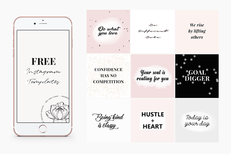 how to create an instagram theme + free instagram templates - new lune