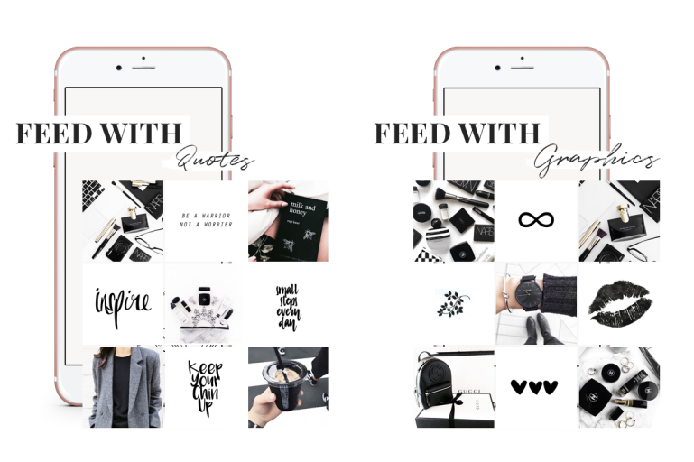 feed with graphics and quotes - the ultimate guide black and white branding - new lune