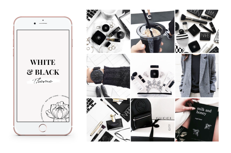 white and black instagram theme - the ultimate guide black and white branding - new lune