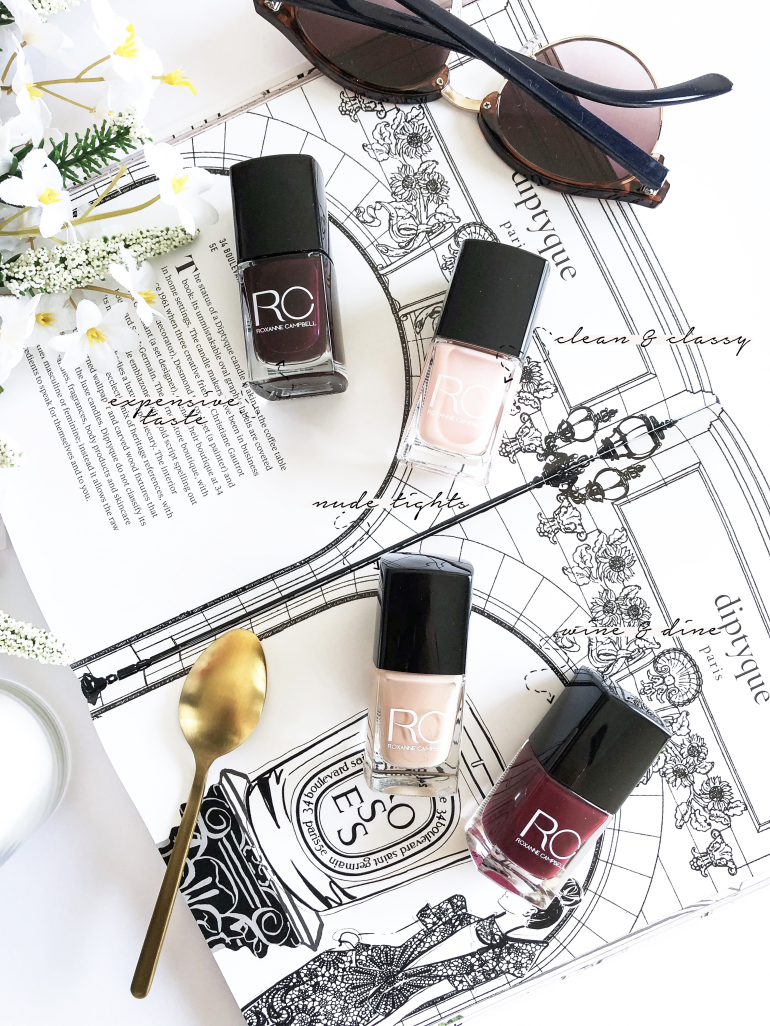 the classic nail polish colours ft. roxanne campbell london - new lune - expensive taste - nude tights - wine & dine - clean & classy