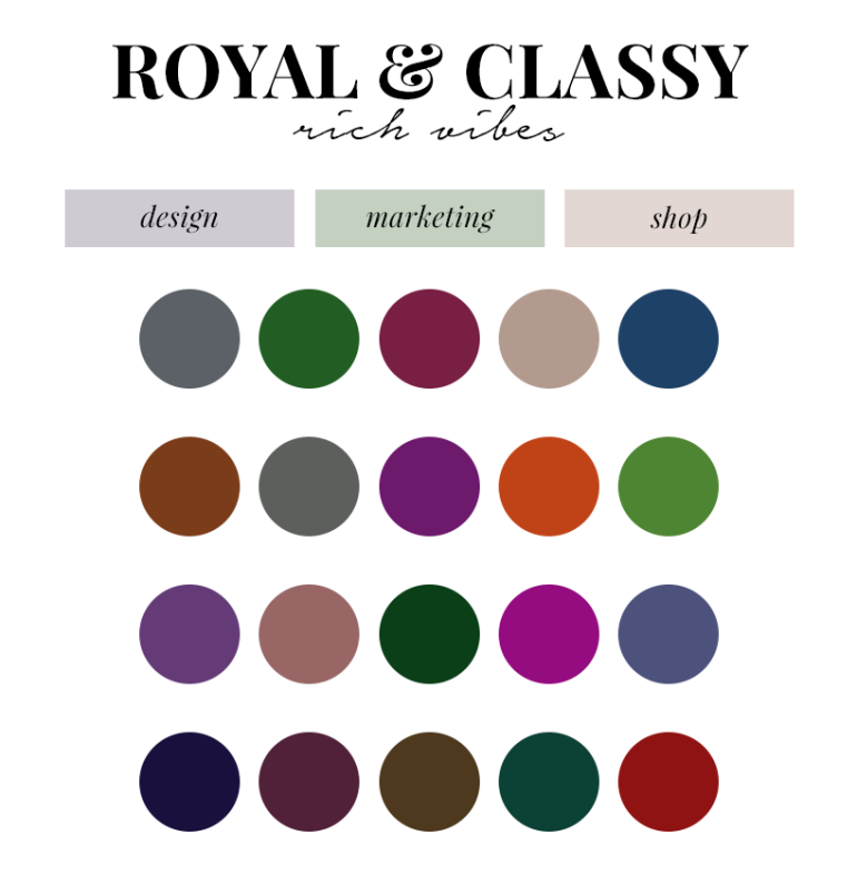 creating a colour palette for your branding - new lune - free colour palettes - rich colours