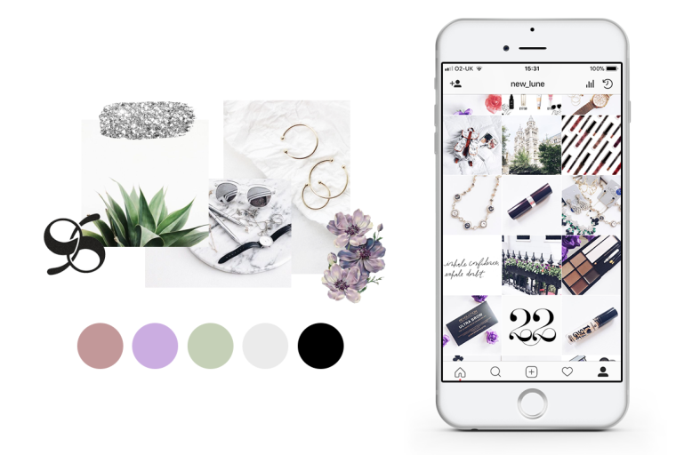 creating a colour palette for your branding - new lune - instagram theme feed
