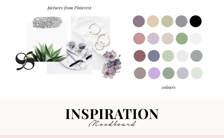 creating a colour palette for your branding - new lune - moodboard