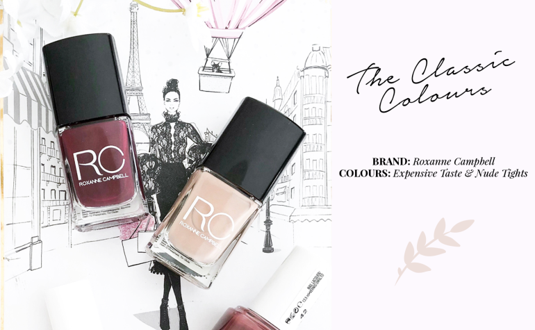 my go-to nail polishes - roxanne campbell - new lune - expensive taste - nude tights