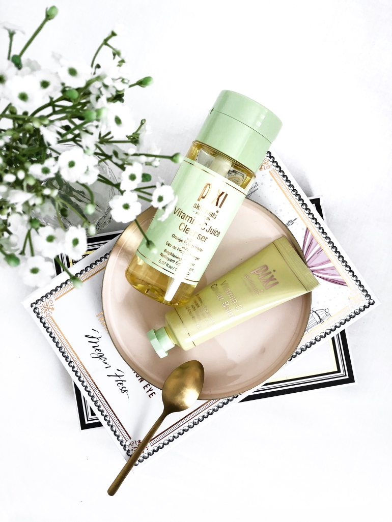 a glowing skincare routine - new lune - pixi beauty - vitamin c range - cleanser - mask