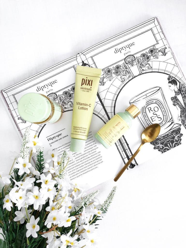a glowing skincare routine - new lune - pixi beauty - vitamin c range - lotion - serum - toner