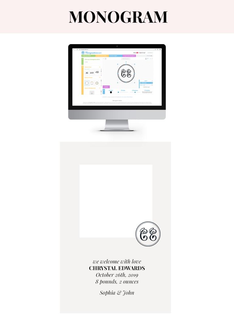 how to design creative announcement pictures - monogram maker - tutorial - new lune