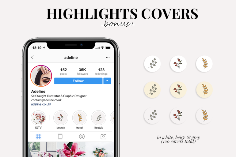 the ultimate fall icons and clipart set - instagram story highlights covers - new lune - freebies