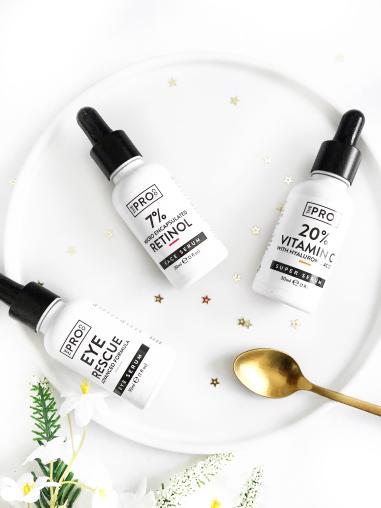 three skincare picks from pro co - serums - retinol - vitamin c - hyaluronic acid - eye rescue cream - new lune - the pro co