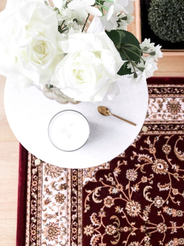 5 ways to decorate and brighten your rented home - new lune - ornatus - rug ottoman temple red