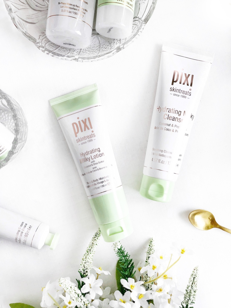 a hydrating skincare routine - pixi - hydrating milky range - lotion - cleanser