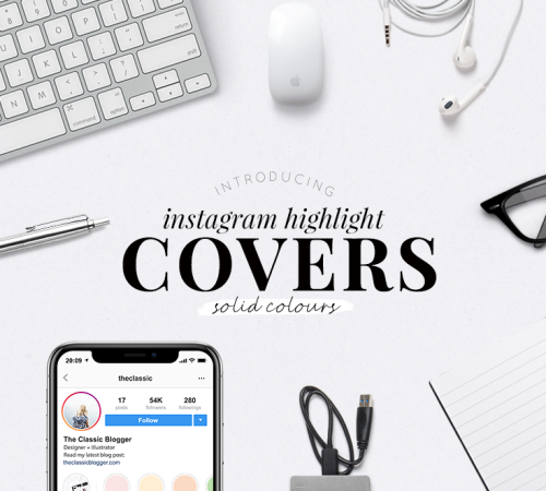 Instagram highlight covers - solid colours - simple highlight covers