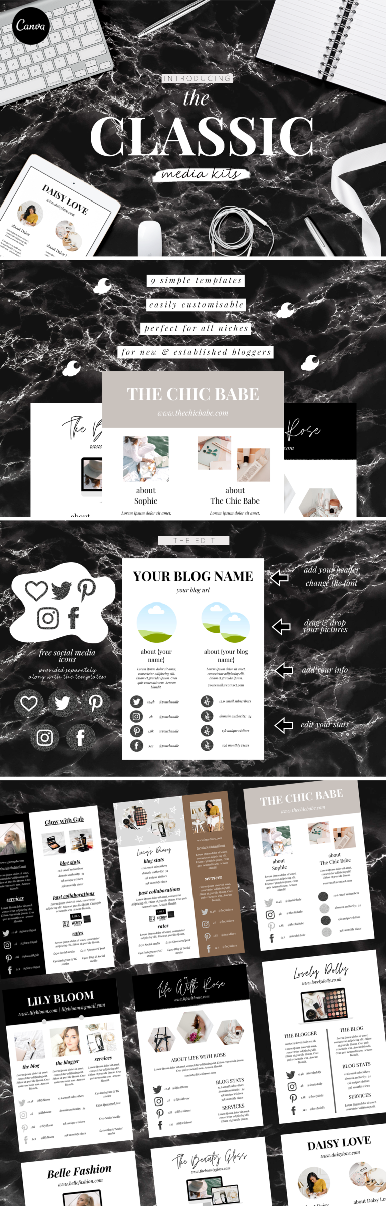 the classic media kits - canva templates - free black glitter social media icons - new lune studio