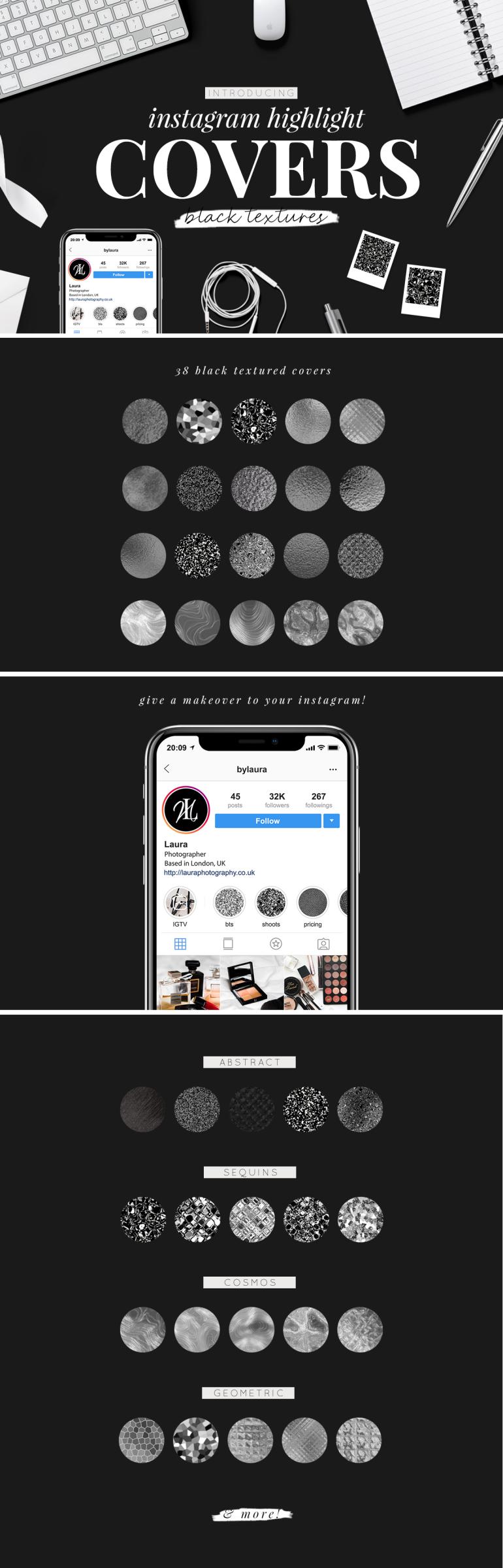 instagram highlight covers - black textures - new lune studio