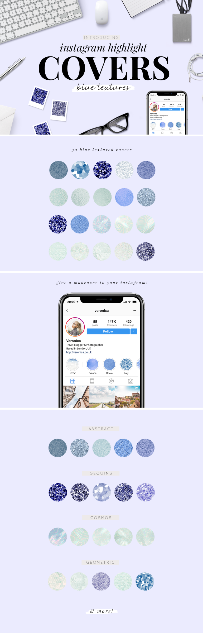 instagram highlight covers - blue textures - new lune studio