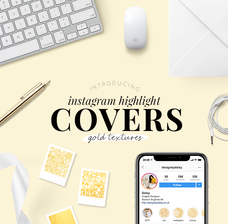 Instagram highlight covers - gold textures - pretty highlight covers