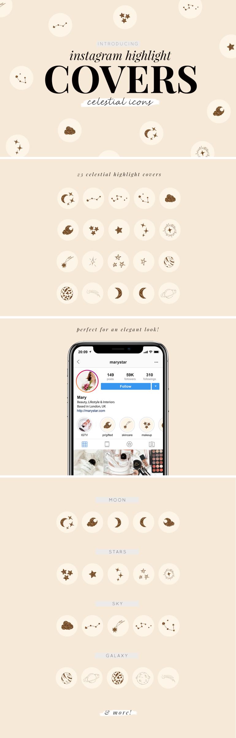 instagram highlight covers - new lune studio - celestial icons - gold glitter