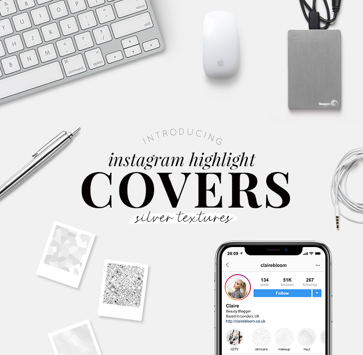 Instagram highlight covers - silver textures - pretty highlight covers