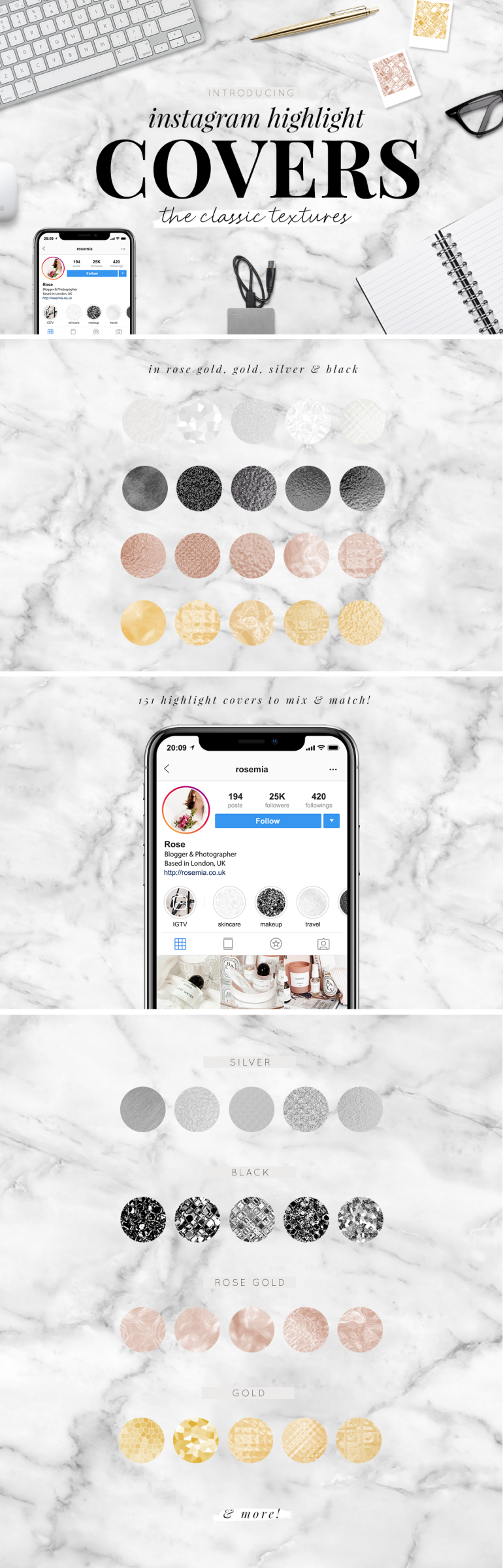 instagram highlight covers - the classic textures - new lune studio