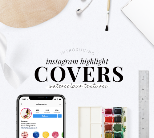 Instagram highlight covers - watercolour texture - simple pretty highlight covers