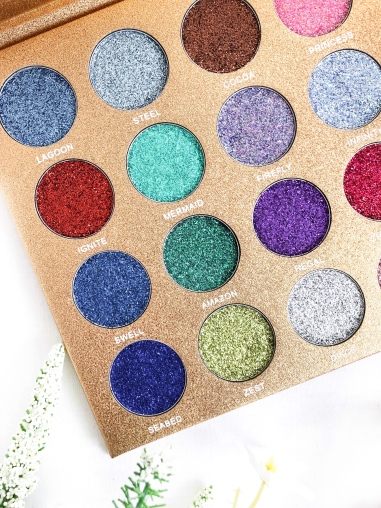 testing the bomb dot com glitter palette by jolie beauty - new lune - blue glitters