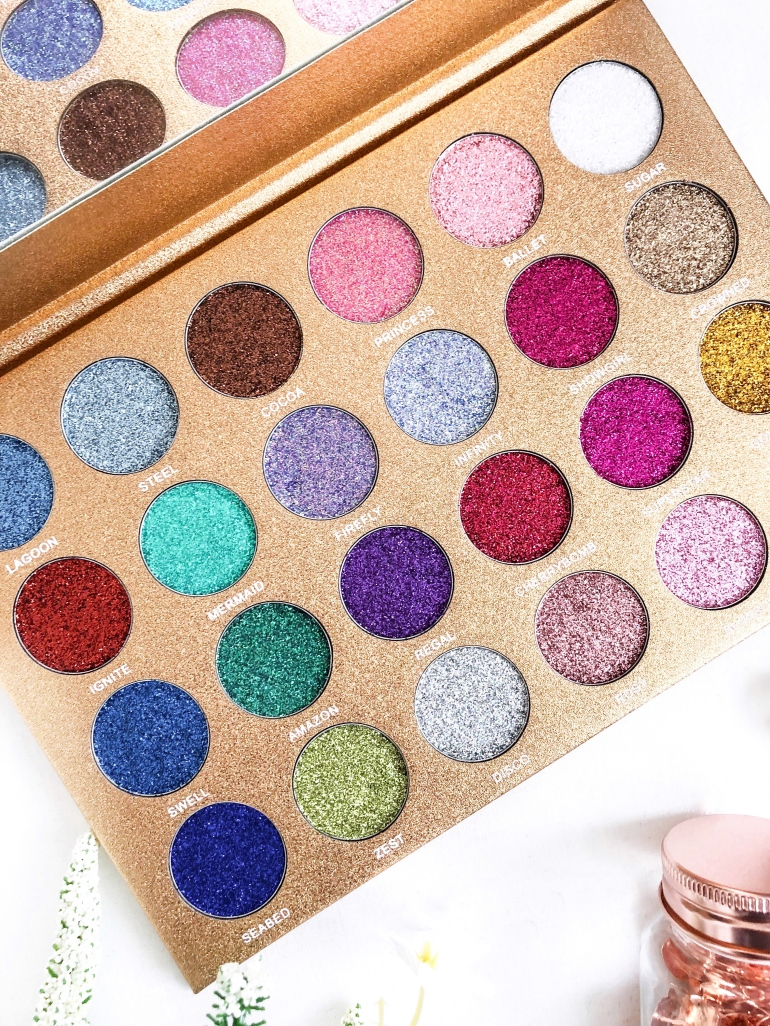 testing the bomb dot com glitter palette by jolie beauty - new lune - glitters
